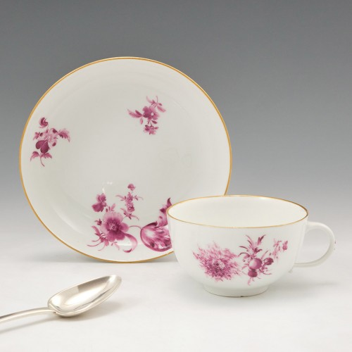 A Meissen Dot Period Porcelain Tea Cup and Saucer c1770