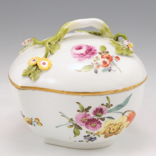 A Meissen Porcelain Box and Cover of Peach Form c1755