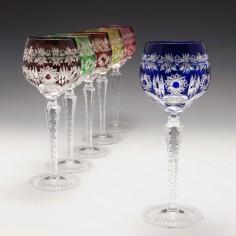 Six Cristallerie du Val Saint Lambert Wine Glasses