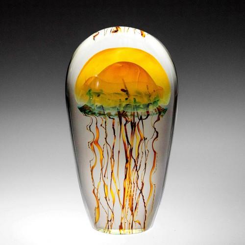 Richard Satava Art Glass Moon Jellyfish Paperweight