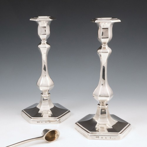 A Pair Of Hamilton and Inches Sterling Silver Candlesticks Edinburgh 1907