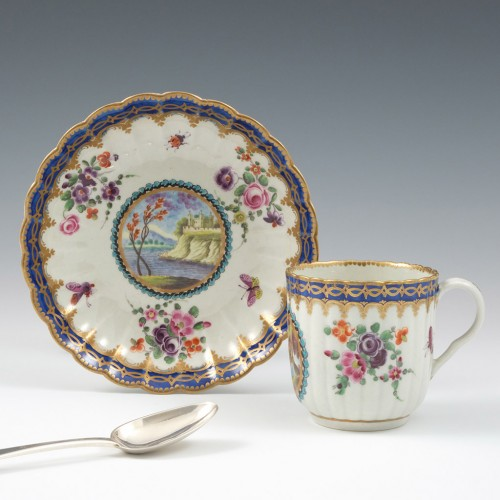 A Worcester Porcelain Lord Henry Thynne Pattern Coffee Cup and Saucer c1780
