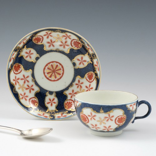 A Worcester First Period Porcelain Old Japan Star Pattern Tea Cup and Saucer c1770