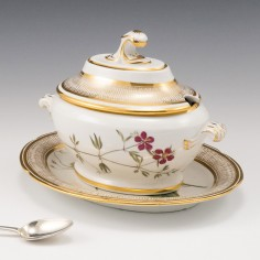 A Coalport Botanical Porcelain Dessert Tureen Cover and Stand 1805-10