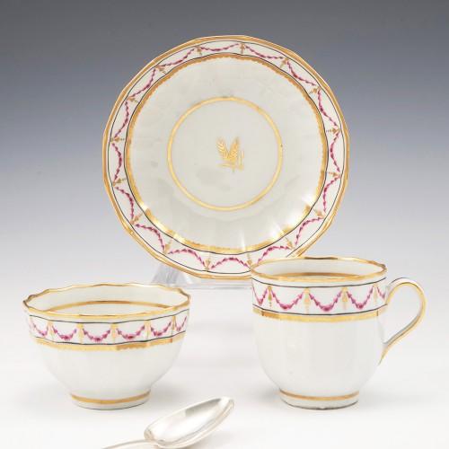 A New Hall Hard Paste Porcelain Trio 1782-87