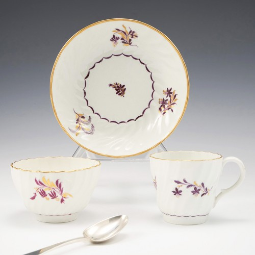A Worcester Flight Period Porcelain Trio 1783-92