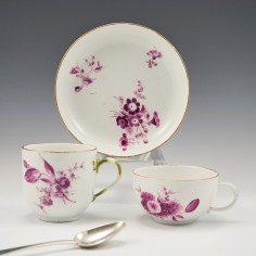 A Meissen Dot Period Porcelain Tea Cup and Saucer and Coffee Cup c1770
