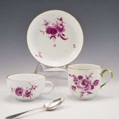 A Meissen Dot Period Porcelain Tea Cup and Saucer and Coffee Cup