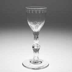 OXO Engraved Facet Cut Stem Wine Glass c1770