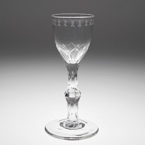 OXO Engraved Facet Cut Stem Wine Glass c1770