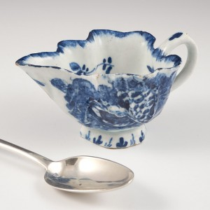 An English Blue and White Porcelain Footed Butter Boat Attributed to Bow  c1770