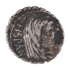 Roman Republic  A  Postumius A F Albinus, Silver Serrated Denarius, Hispania, 81 BC