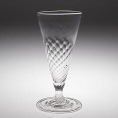 Half Wrythen Moulded Georgian Ale Glass c1770