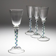 Four Mike Hunter Twist Glass Studios Wine Glasses