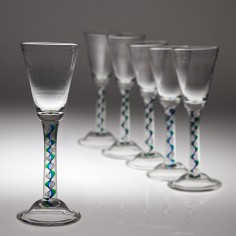 Six Mike Hunter Twist Glass Studios Wine Glasses