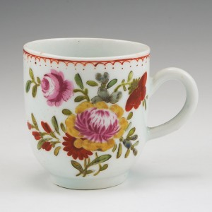 A Bow Floral Pattern Porcelain Coffee Cup c1765