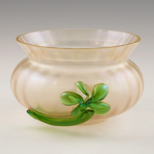 A Kralik Silver Glass Bowl With Applied Flower c1900