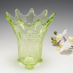 A Soweby Uranium Glass Frog and Bullrush Vase c1930