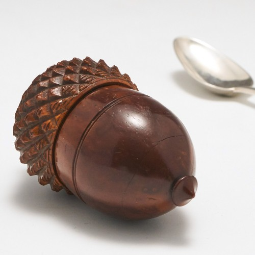 A Turned and Carved Coquilla Nut Acorn Shape Nutmeg Grater c1800