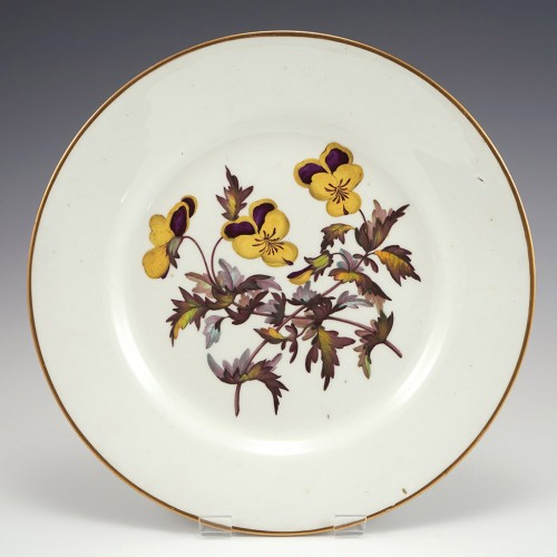 A Derby Duesbury and Kean Porcelain Botanical Plate c1800