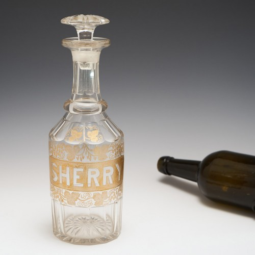 A Victorian Gilded Sherry Decanter Bottle c1840
