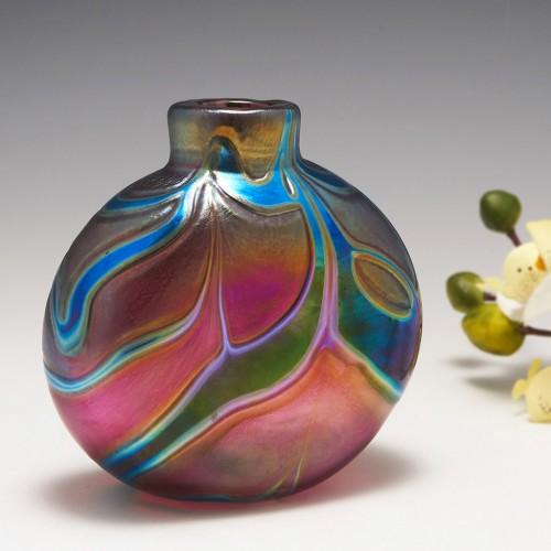 A Paul C Brown  for Lanmara  Glass Iridescent  Vase 1992