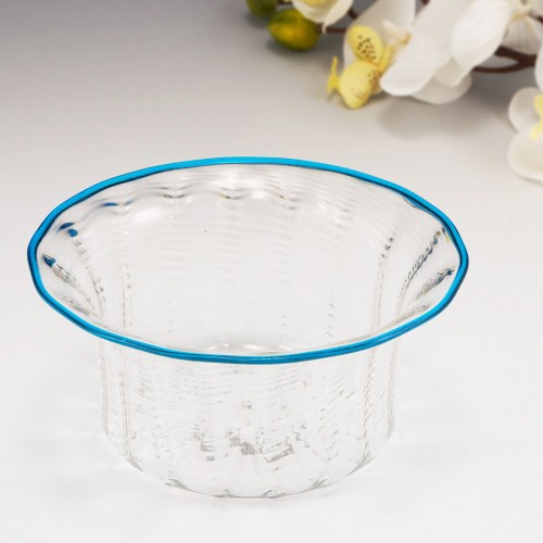 A Murano Blue Rimmed Rib Moulded Wrythen Bowl c1960