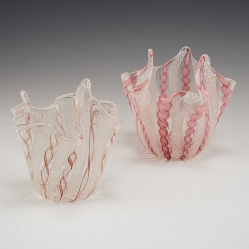 A Pair Of Zanfirico Handkerchief Vases c1970