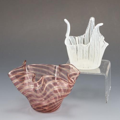 Two Murano Handkerchief Vases