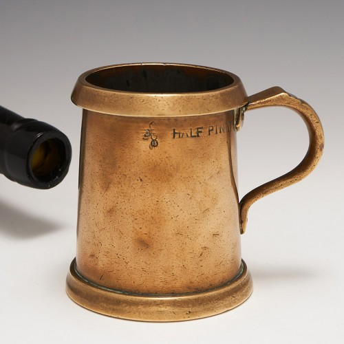 A Bronze Half-Pint Measure With Copper Rim c.1890
