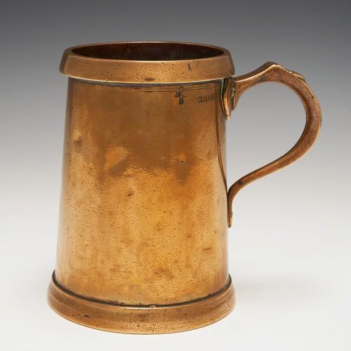 A Bronze Quart Measure With Copper Extended Rim c1890
