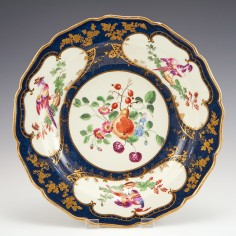 A  Giles Decorated Worcester Lady Mary Wortley Deep Plate c1770