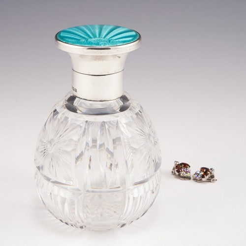 A Guilloche Enamel and Sterling Silver Topped Perfume Bottle Birmingham 1935