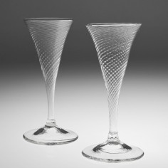 Pair Fine Wrythenen Moulded Champagne Flutes 1775