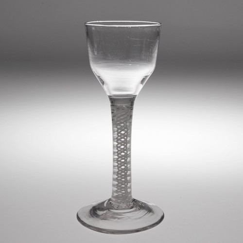 An 18th Century Opaque Twist Stem Wine Glass c1760