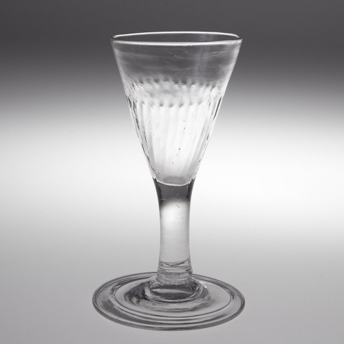 Rib Moulded Gin Glass With Folded Foot c1750