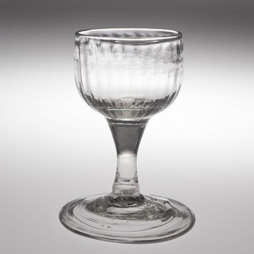 Georgian Rib Moulded Plain Stem Dram Glass c1750