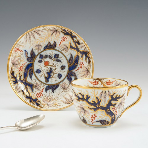 John Rose Coalport Candlelight Imari Vine Cup and Saucer c1815