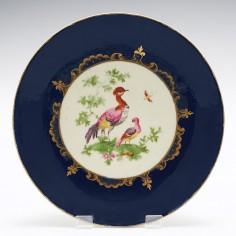 First Period Worcester Wet Blue Fancy Birds Dessert Plate c1770