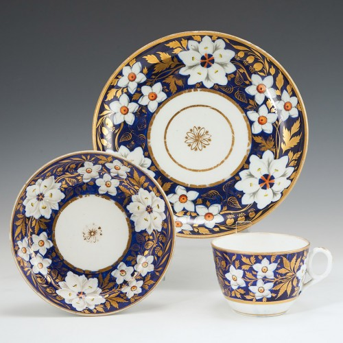 New Hall Porcelain Pattern 885 Tea Cup Saucer And Plate c1820