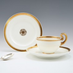 A Swansea Porcelain Tea Cup and Saucer with Teaplate 1814-22