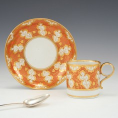 A Worcester Barr Period Porcelain Coffee Can and Saucer c1800
