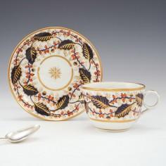 A Rare New Hall Porcelain Tea Cup and Saucer c1800