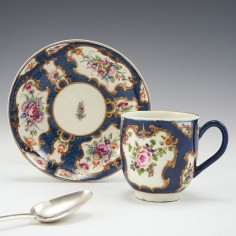 A Worcester First Period Porcelain Scale Blue Coffee Cup and Saucer c1770