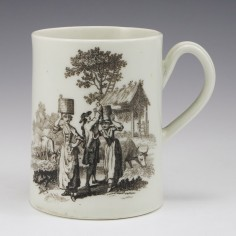 A Worcester First Period Porcelain Milkmaids And Mayday Mug c1762