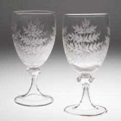 Pair Large Victorian Engraved Wine Glasses c1875-80