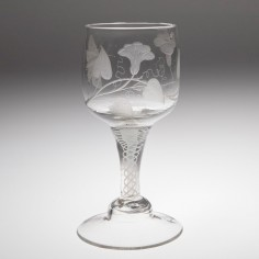 A Dutch Jacobite Engraved Wine Glass c1770