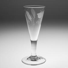 A Tall Engraved 18th Century Plain Stem Ale Glass c1780