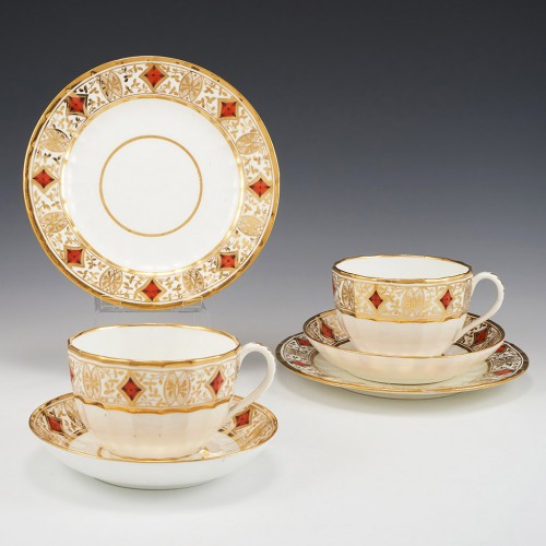 Two Coalport Hamilton Fluted Breakfast Cups, Saucers and Plates c1805