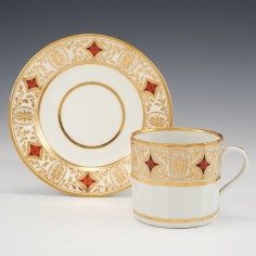 A Coalport Hamilton Fluted  Porcelain Coffee Can and Saucer c1805